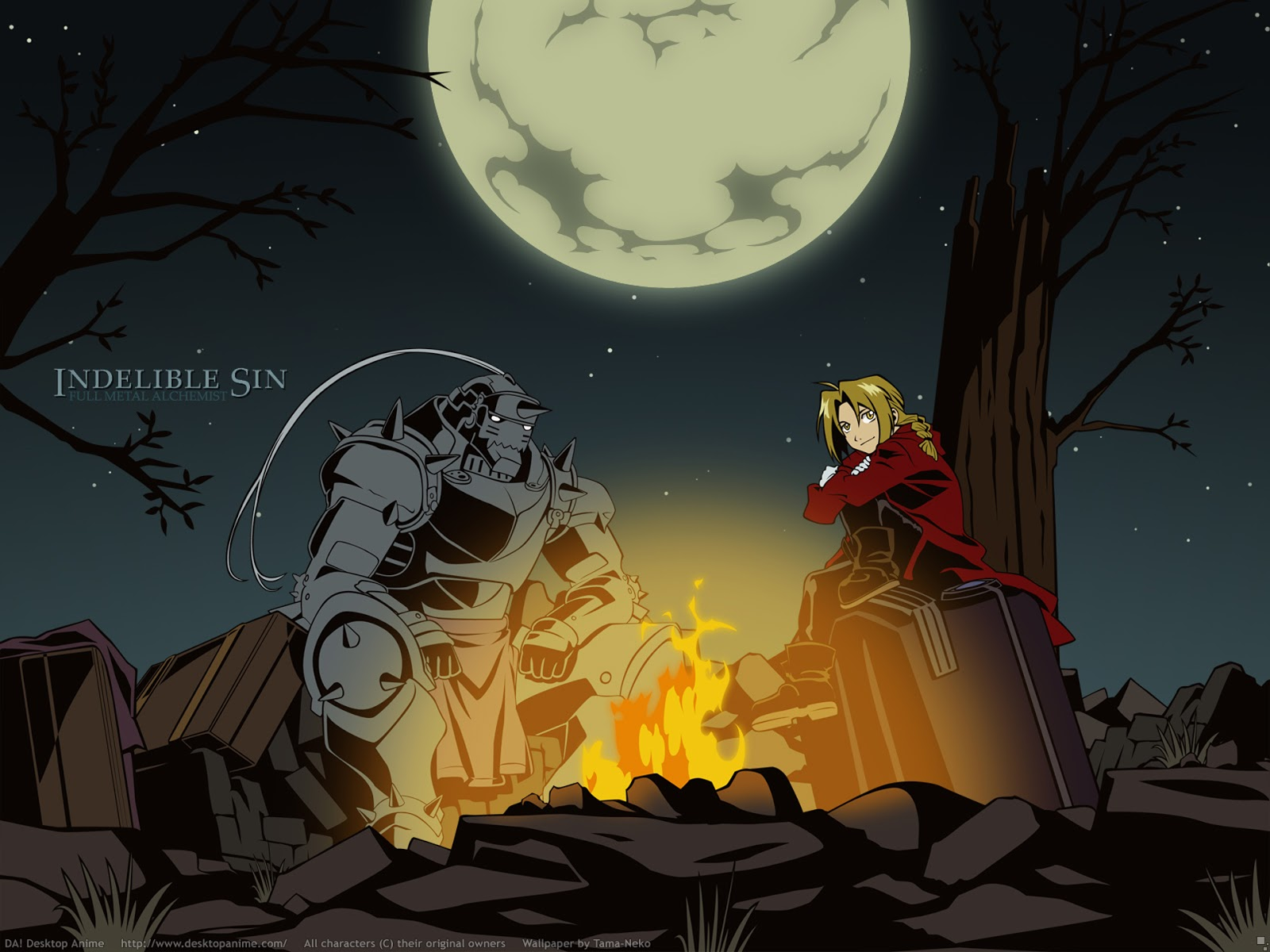 Fullmetal Alchemist Anime Night Fire Camping Full Moon HD Wallpaper 1600x1200