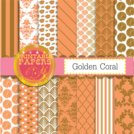 Coral digital paper coral and gold backgrounds golden coral 14 570x567