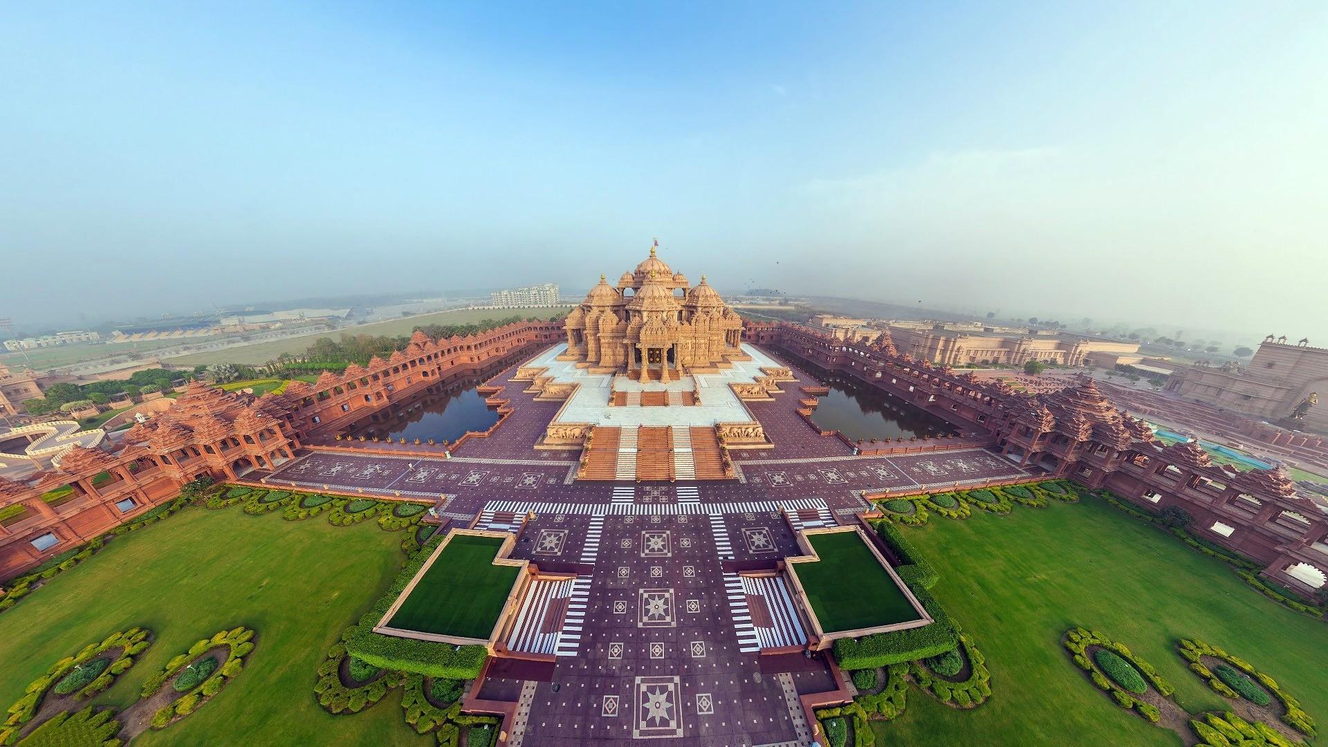 Download 1920x1080 HD Wallpaper akshardham hindu aerial view 1920x1080