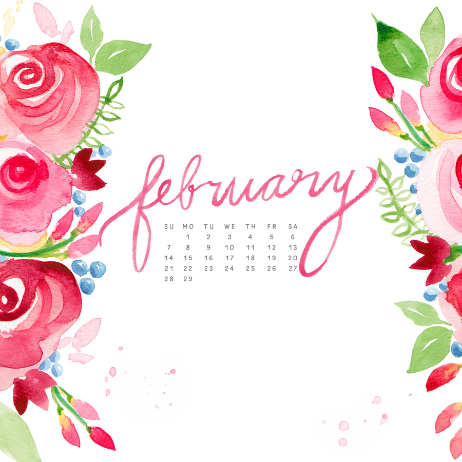 February Watercolor Calendar Desktop Download MOSPENS STUDIO 900x900