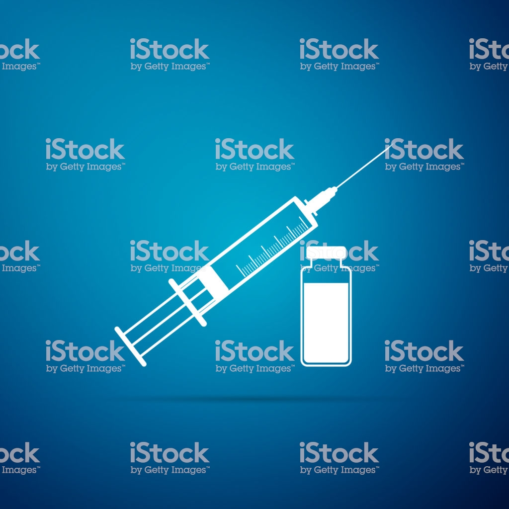 Medical Syringe With Needle And Vial Icon Isolated On Blue 1024x1024