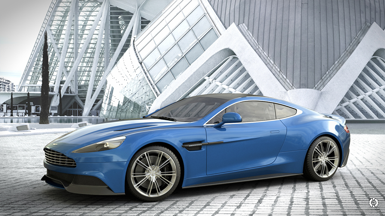 Images Aston Martin Vanquish Blue Side automobile 1280x720