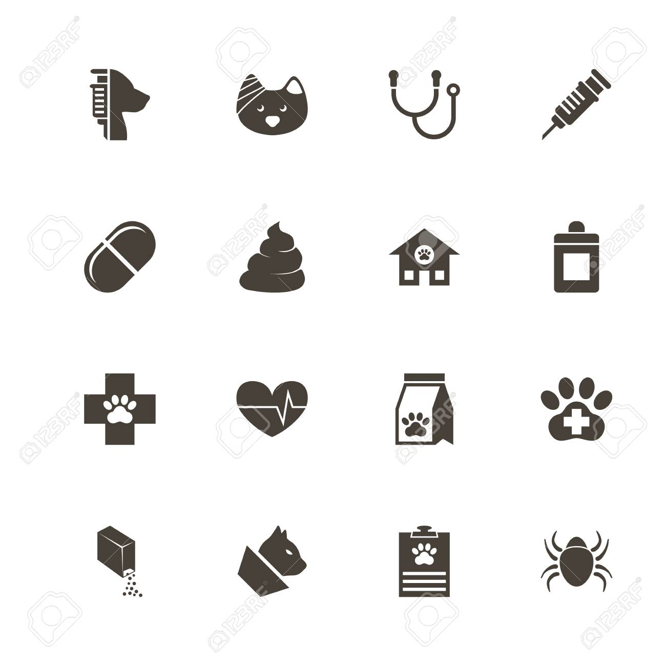 Pet Vet Icons Perfect Black Pictogram On White Background Flat 1300x1300