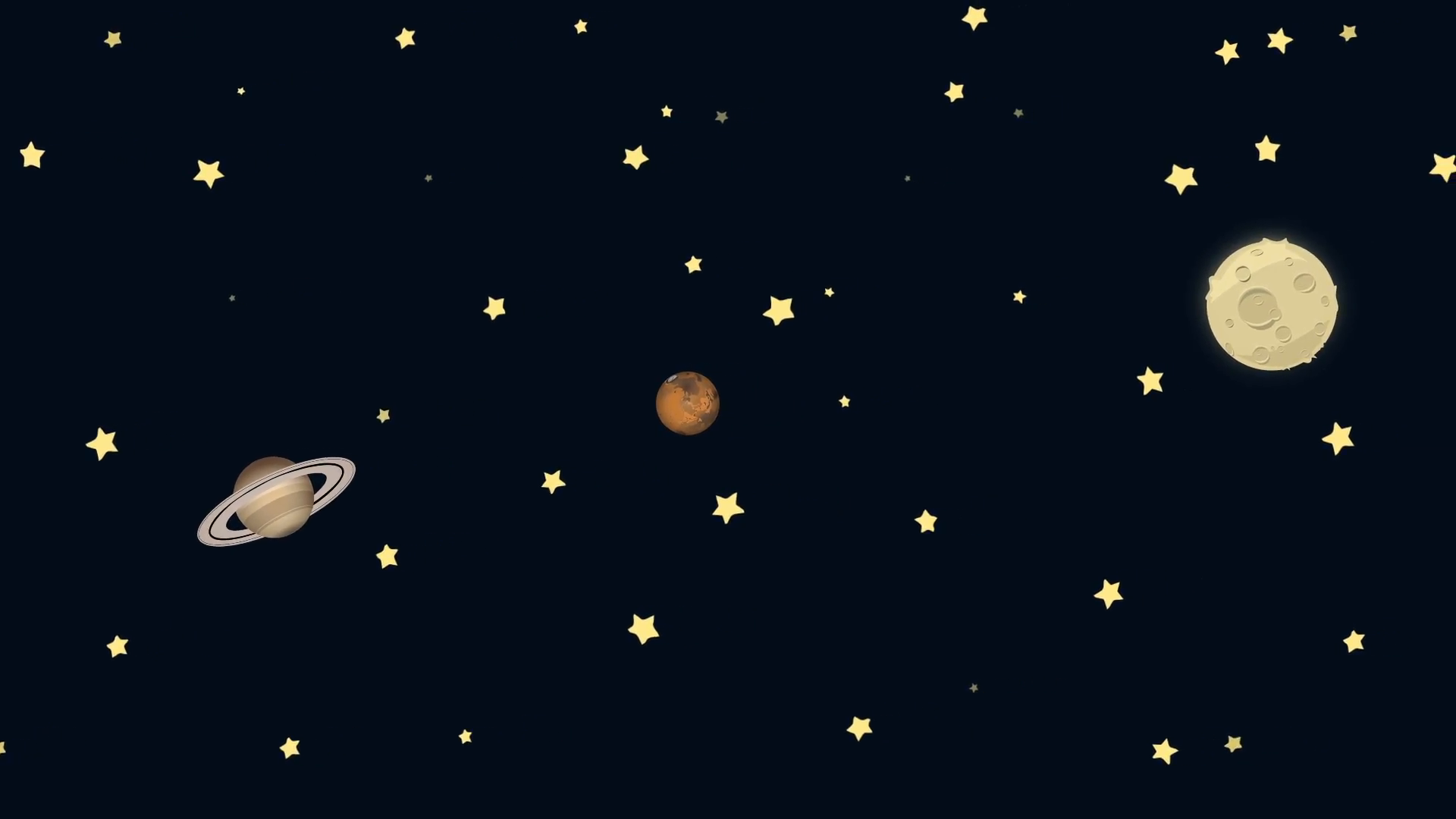 Cartoon Earth Saturn Mars and Moon in Space Motion Background 1920x1080