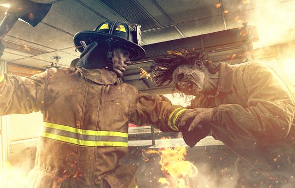 Wallpaper zombie vs firefighter fire fire fight wallpapers 596x380