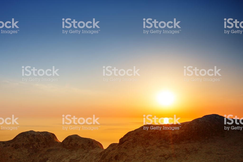 Sunset View From Mountaintop Tourism Travel Sea Background Stock 1024x683