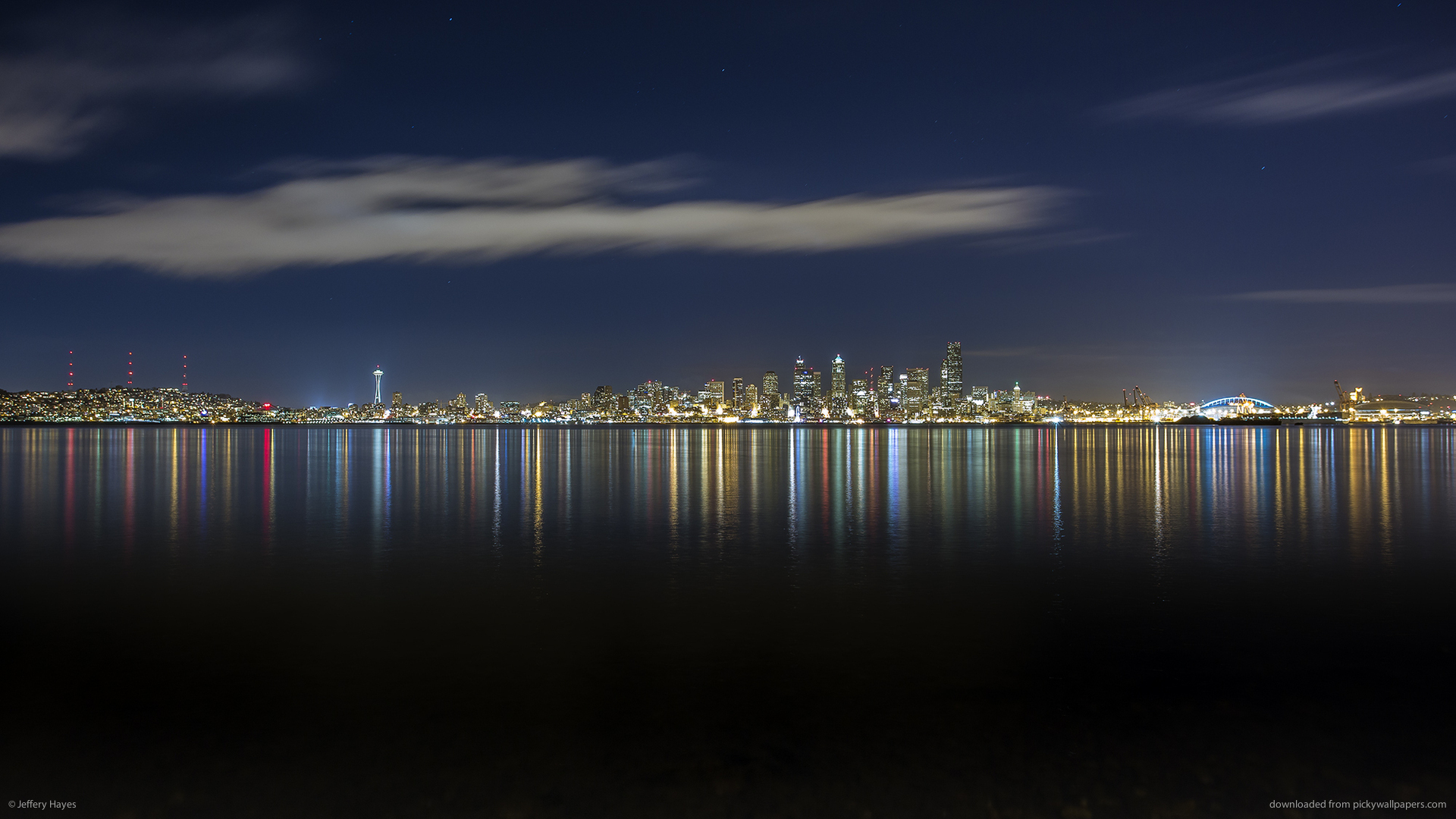 HD Mostly Clear Night In Seattle Wallpaper 1920x1080