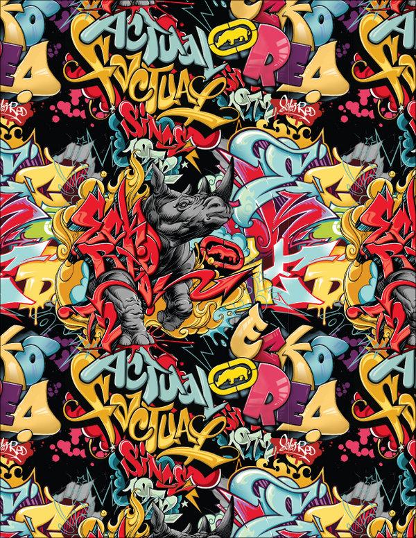 Graffiti Rhino Print 600x776