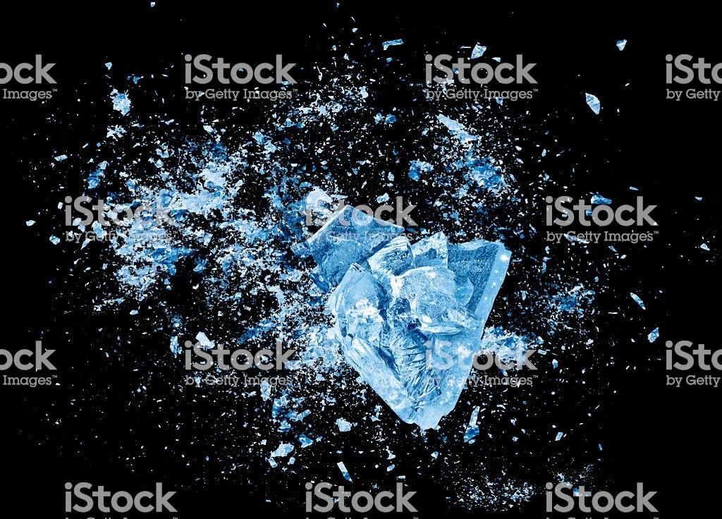 Ice Crash Explosion Parts On Black Background Stock Photo 1024x736