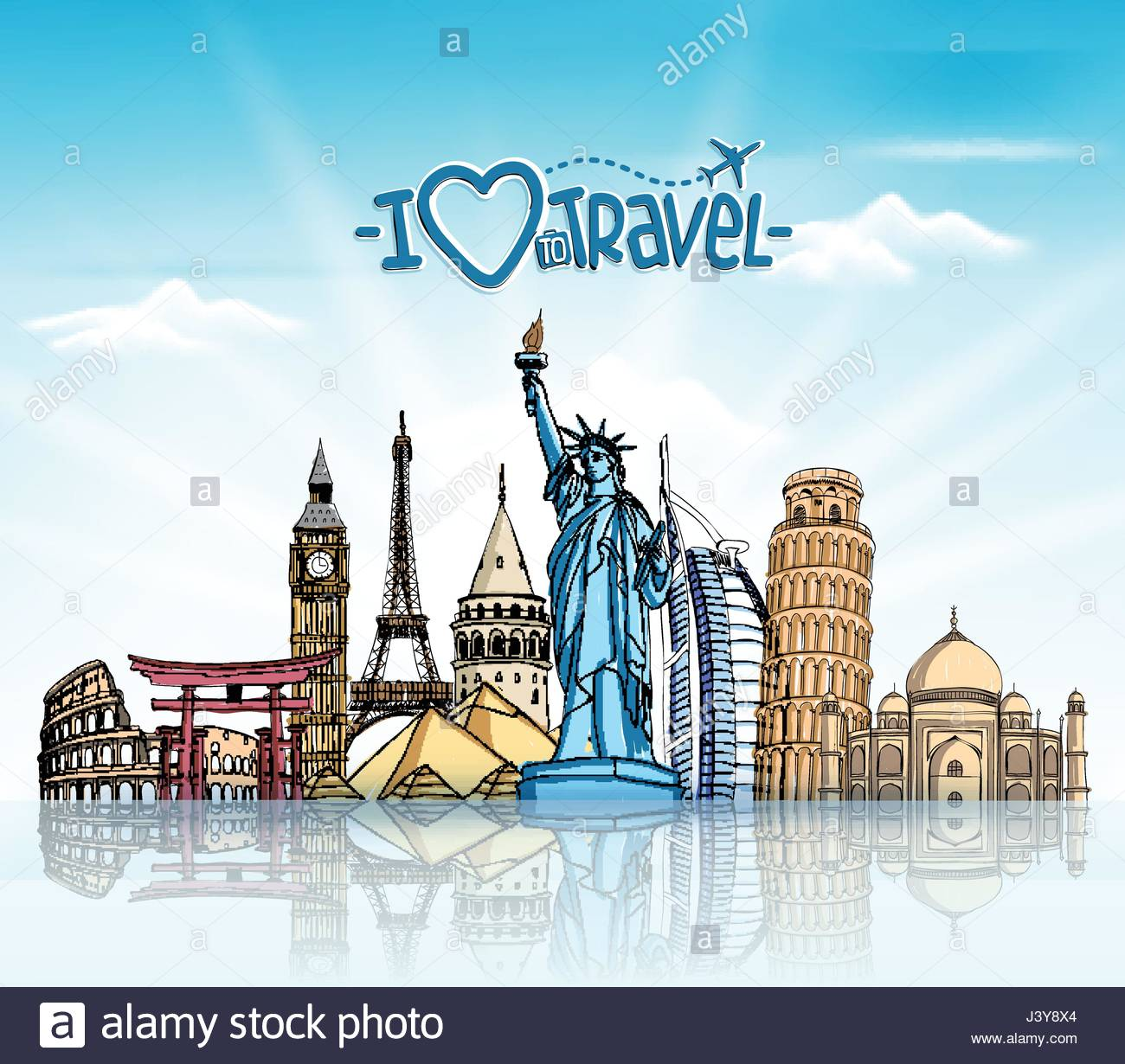 Travel and Tourism Background with Famous World Landmarks in 1300x1230