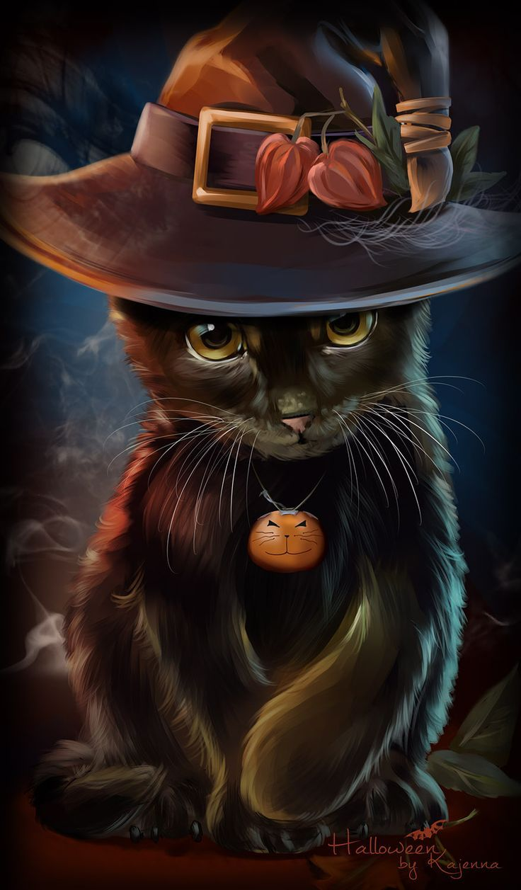 Black Halloween Cat   Best Wallpaper HD Halloween cat Cat art 736x1257