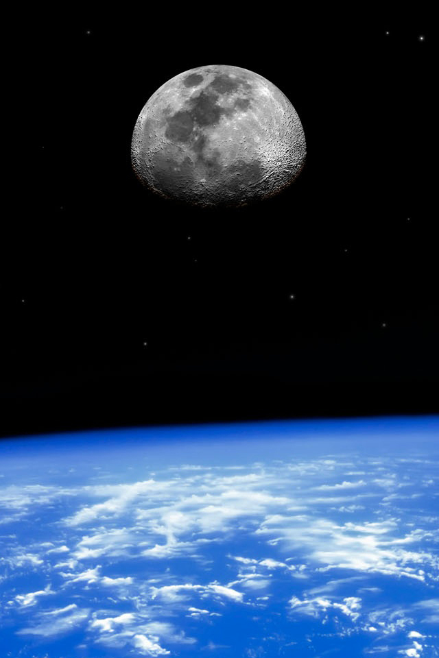 Earth and Moon iPhone Wallpaper HD 640x960