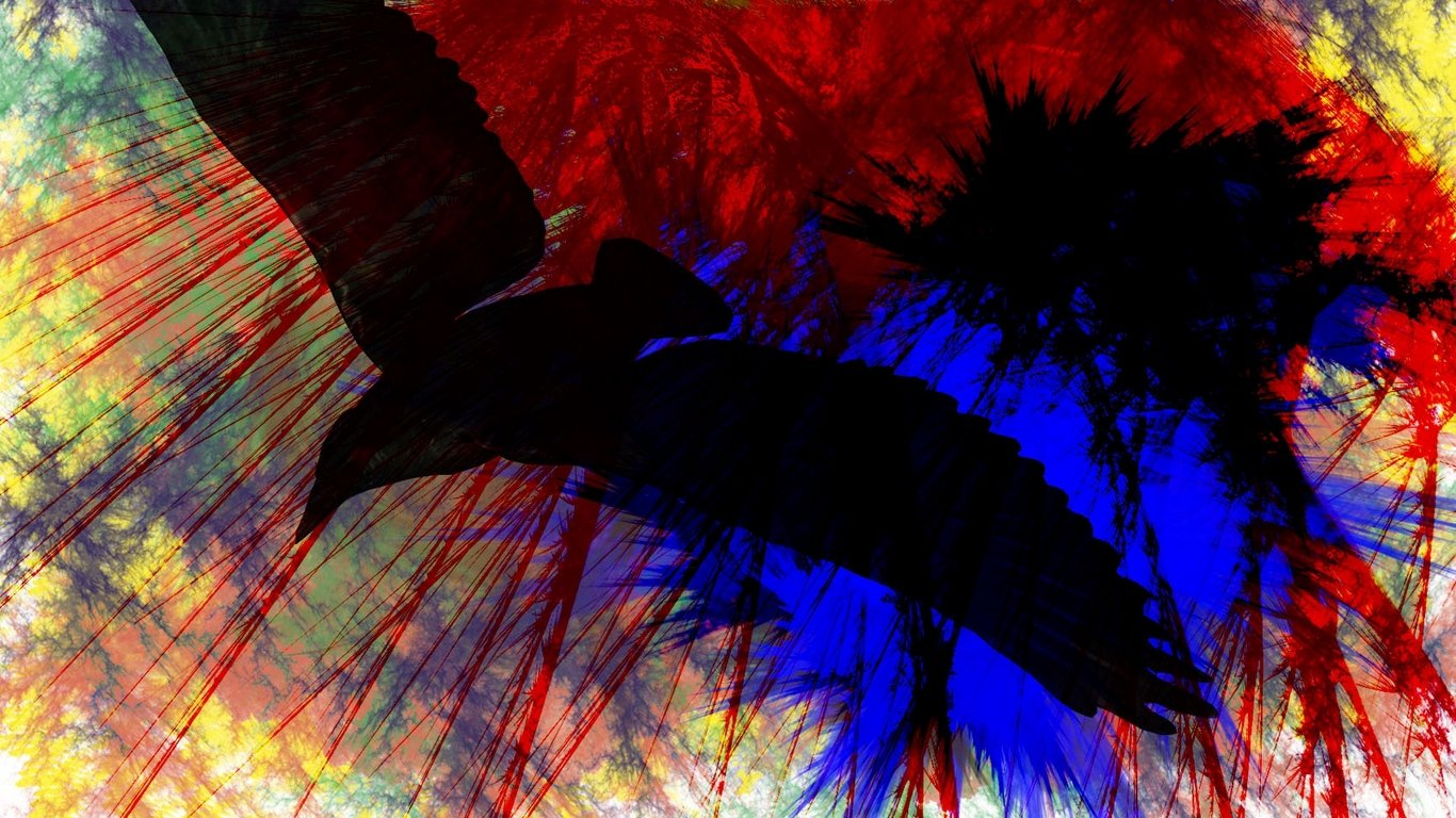 Download wallpaper 1366x768 birds flying paint stripes bright 1366x768