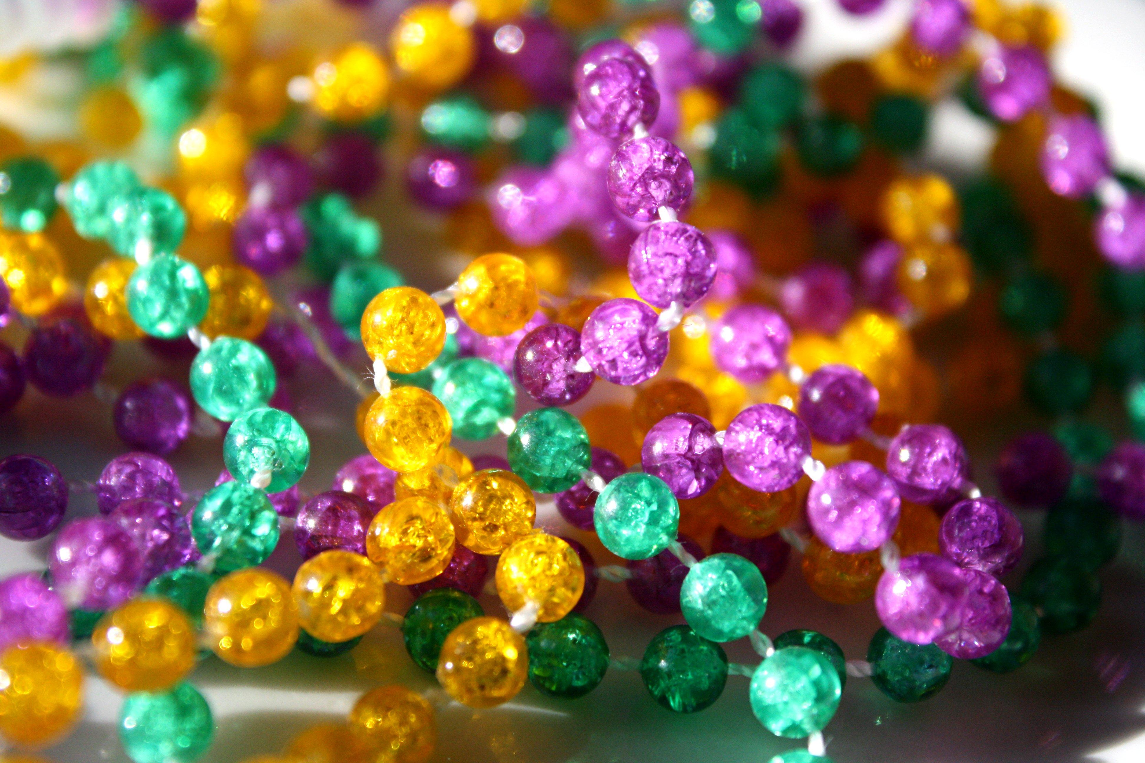 Mardi Gras Beads Closeup Picture Photograph Photos Public 3888x2592