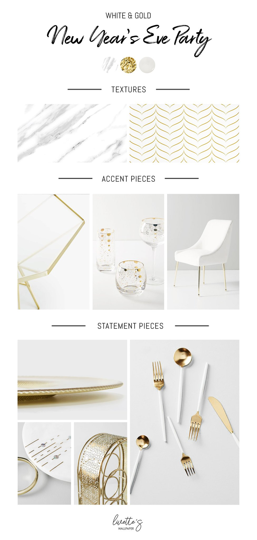 White and gold New Years Eve Mood board Monday Livettes 975x2048