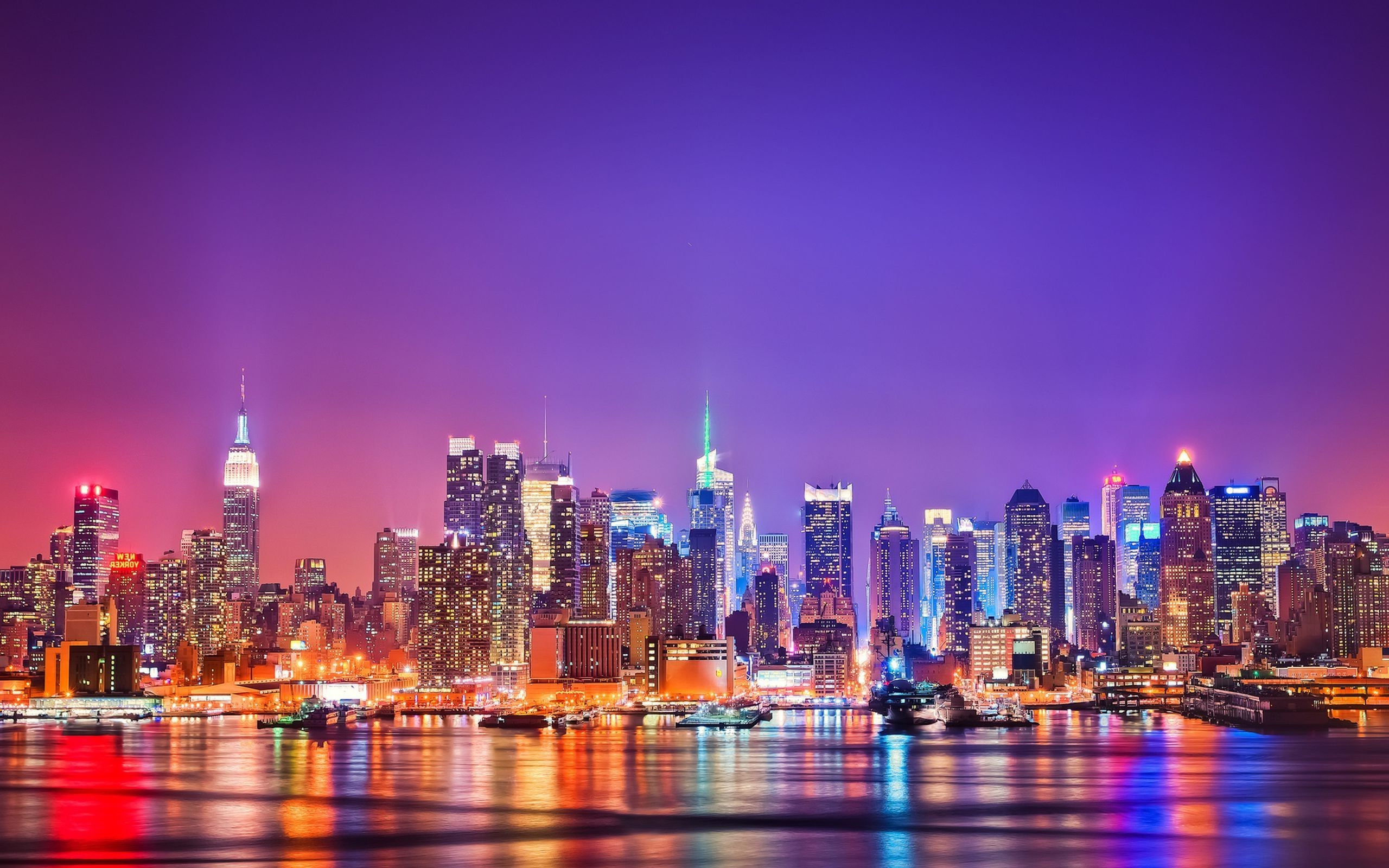 Beautiful New York City Light at Night Wallpaper in High Resolution at 2560x1600