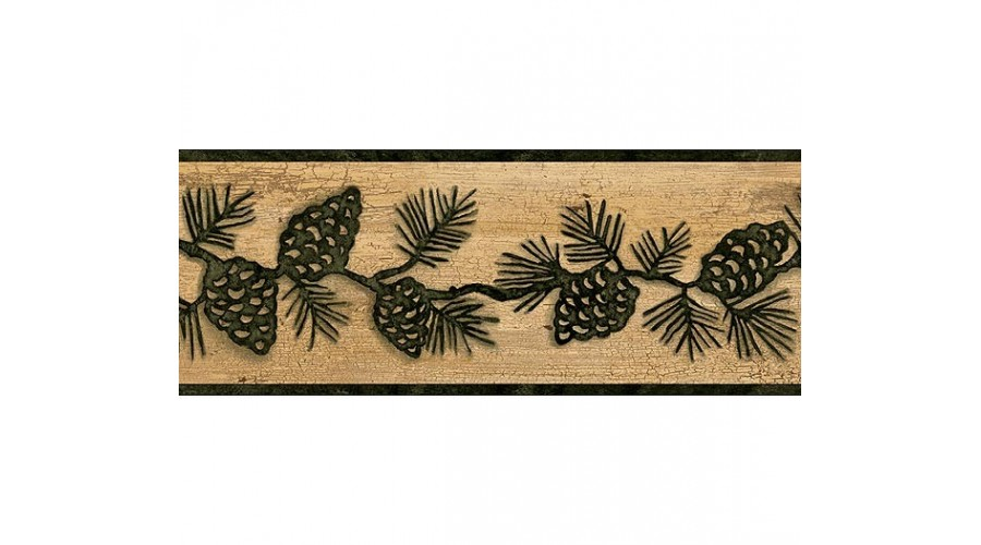 Home Green and Brown Lodge Pinecones Wallpaper Border 900x500