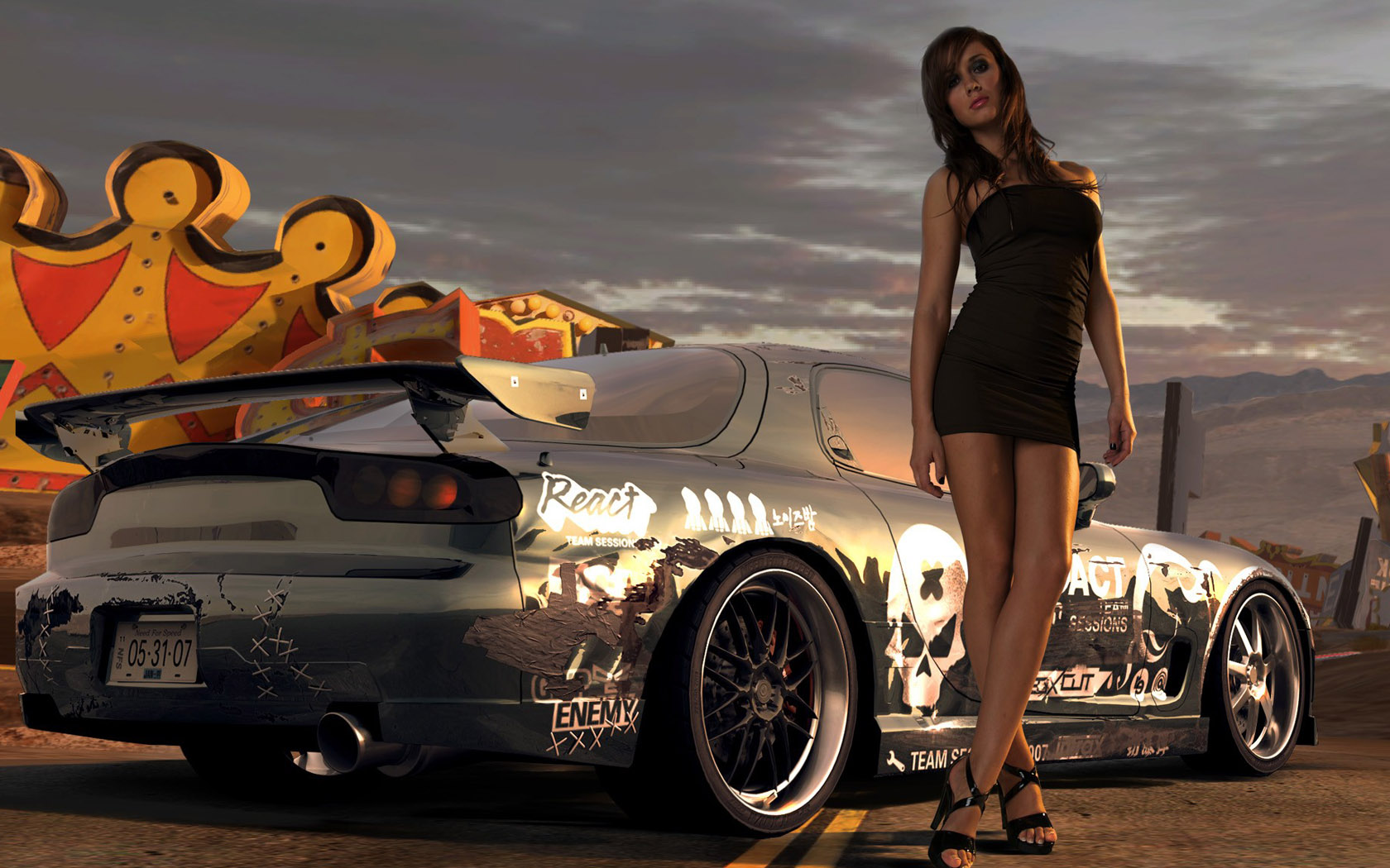 Wallpaper Cool Girl and a Cool Car Wallpaper World 1680x1050