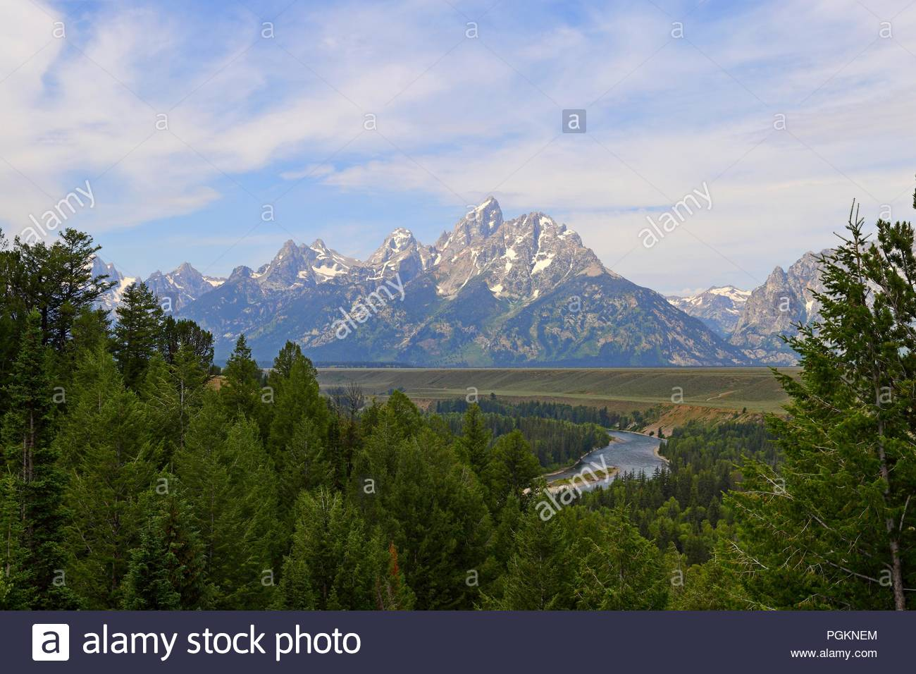Snake River Overlook in Wyoming with the Grand Tetons in the 1300x956