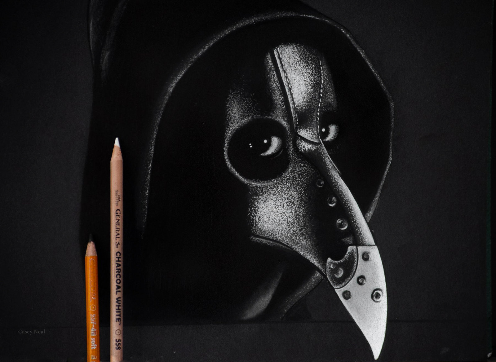 Plague Doctor Charcoal Drawing by CaseyNealArtwork on 1600x1168