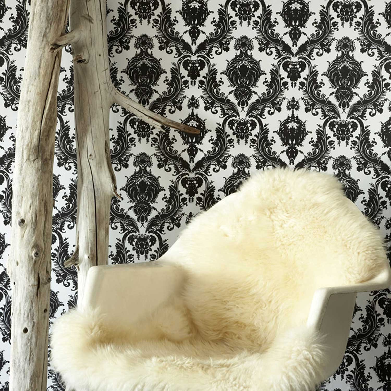 temporary wallpaper features an ornate damask pattern in black and 1500x1500