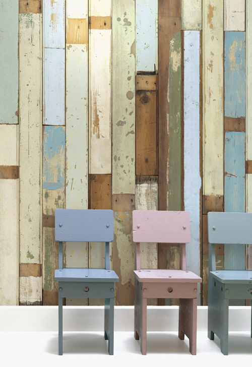 the look is accomplished with scrapwood wallpaper from the wallpaper 500x728