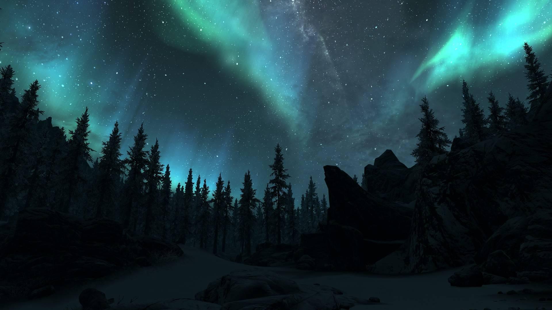 northern lights - Skyrim Wallpaper