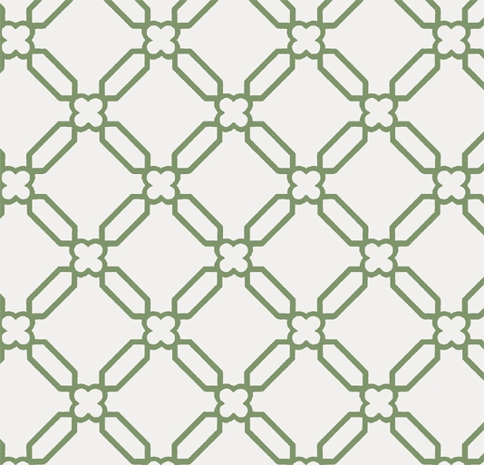 Stone Trellis Wallpaper Green stone trellis design on an off white 534x513