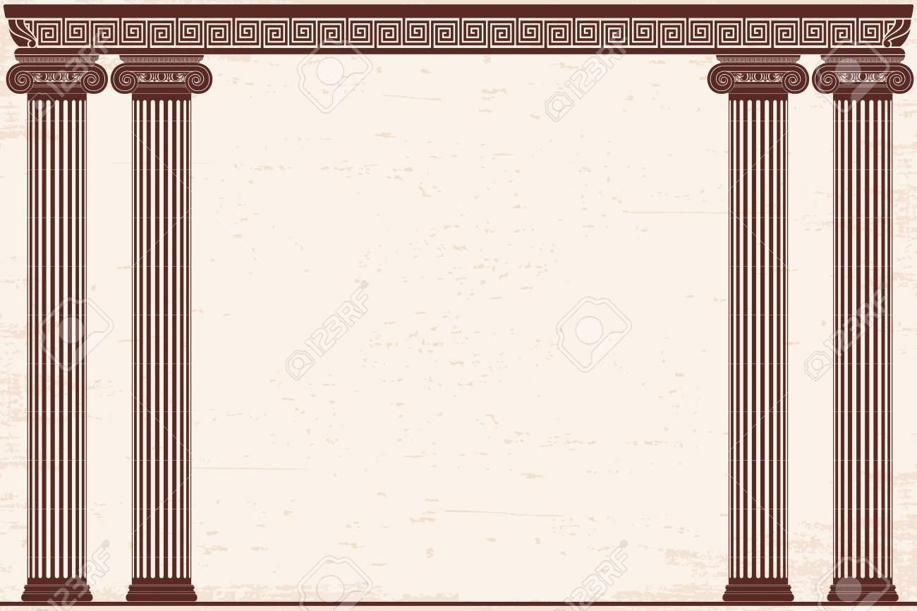 Ancient Greek Background With Four Columns And A National Ornament 1300x866