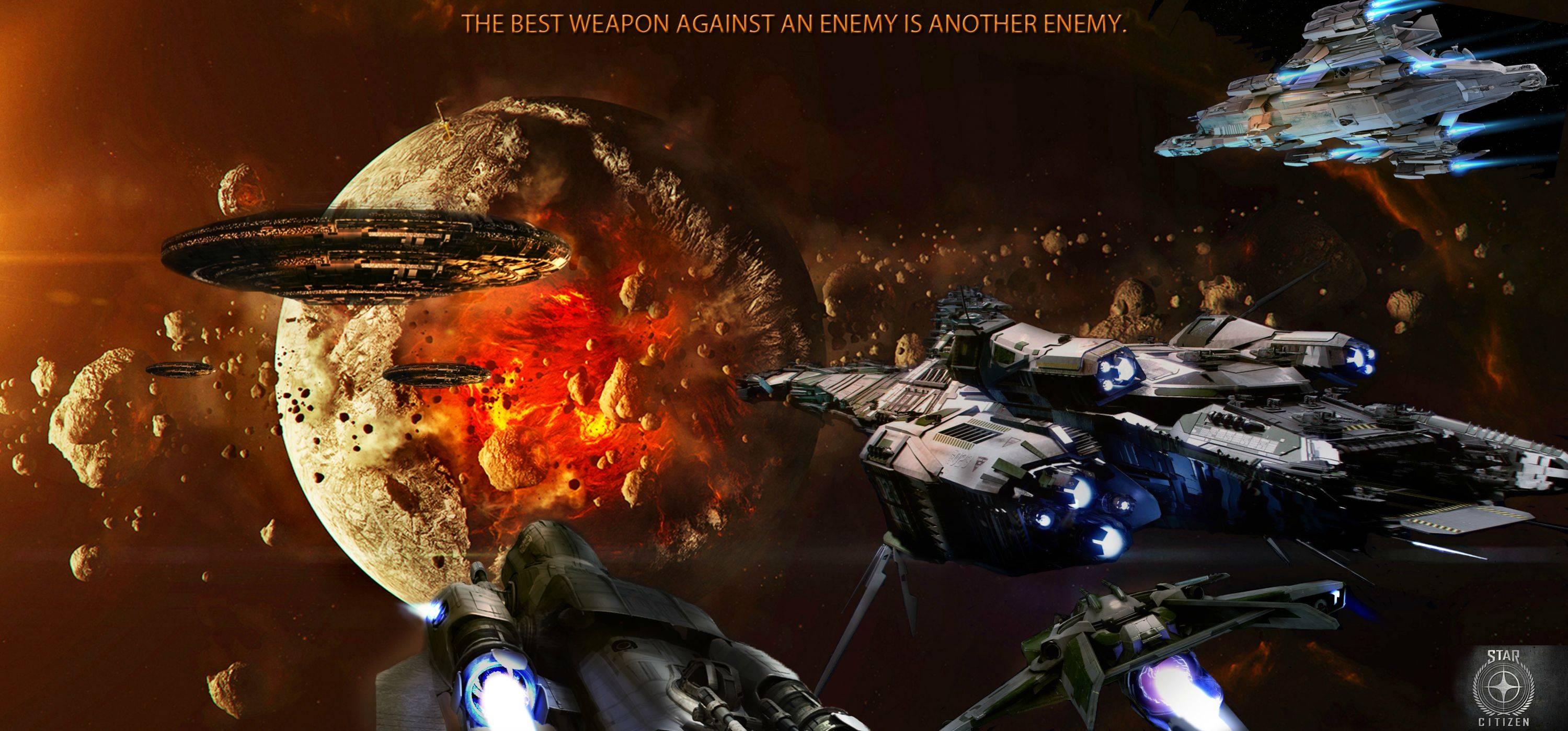 STAR CITIZEN sci fi spaceship game space battle h wallpaper background 2999x1399