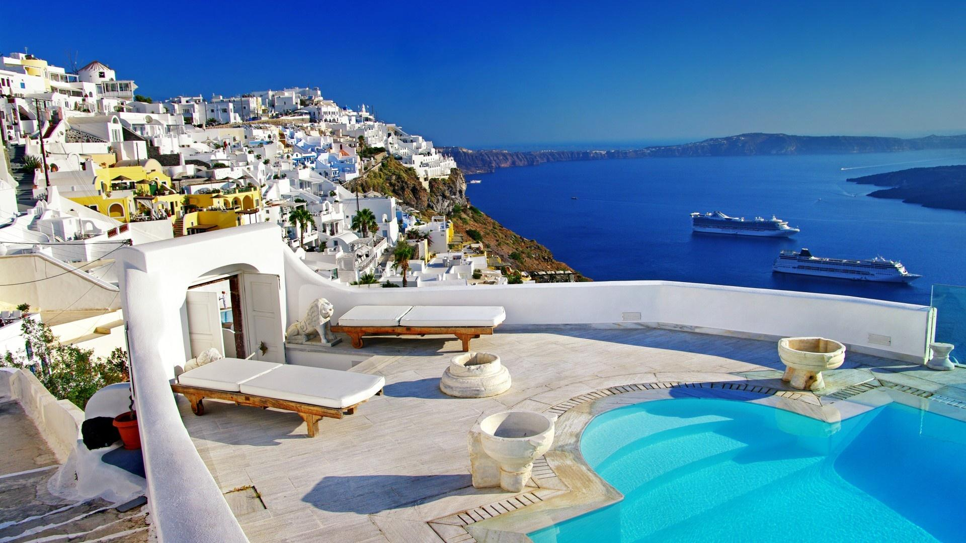 Santorini Luxury Hotels HD Wallpaper Background Images 1920x1080