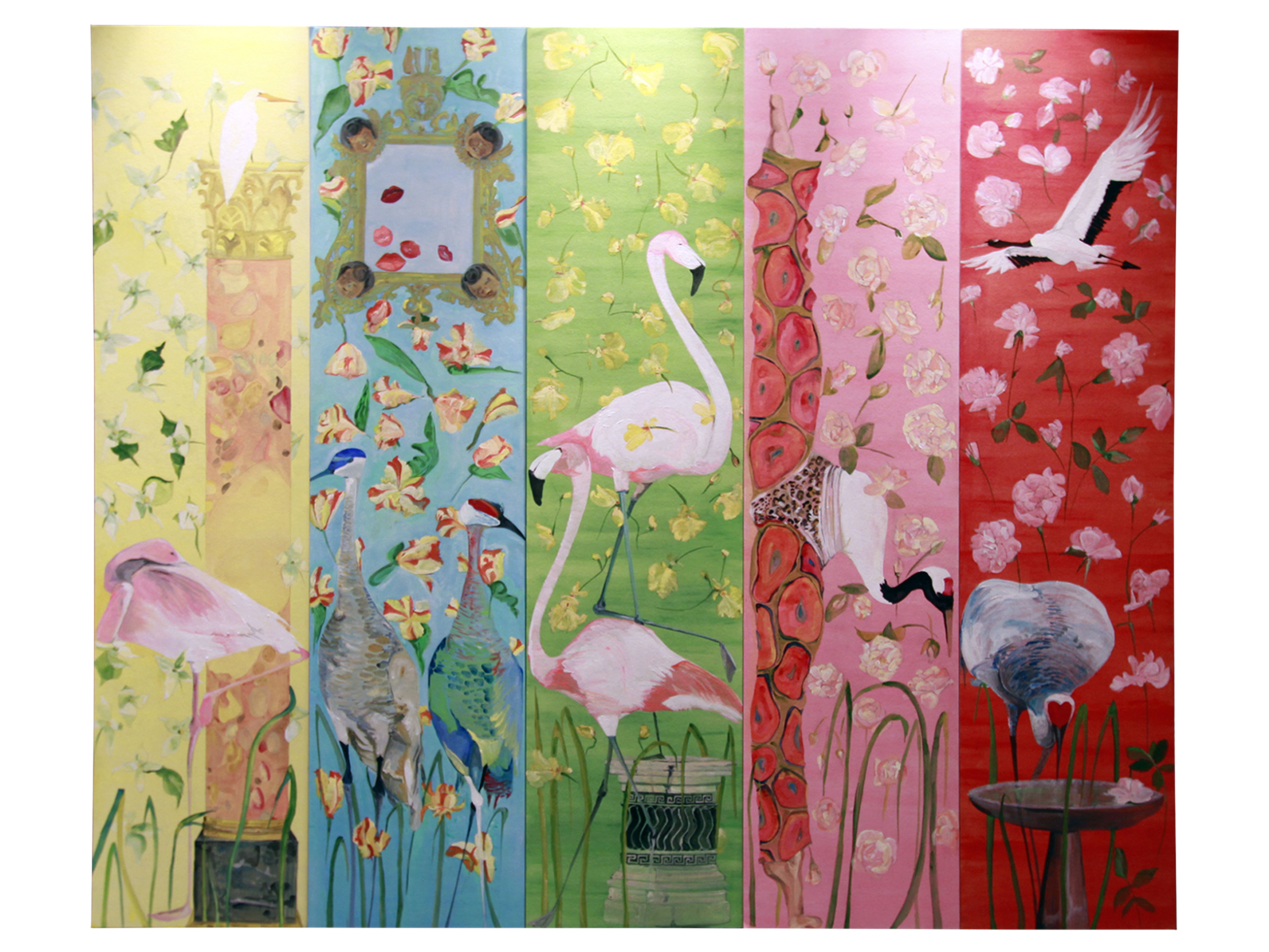 of Earthly Delights 5 panel hand painted wallpaper mural Paris 2015 2500x1875
