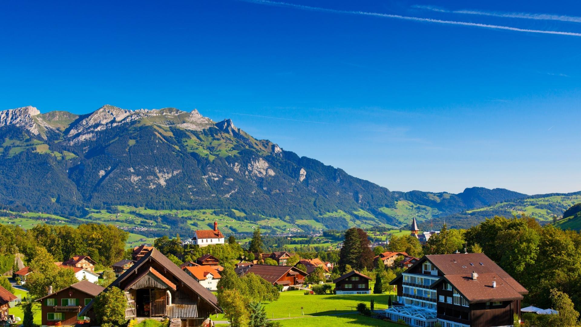 Scenic Swiss Alps Village Hd Wallpaper Wallpaper List 1920x1080