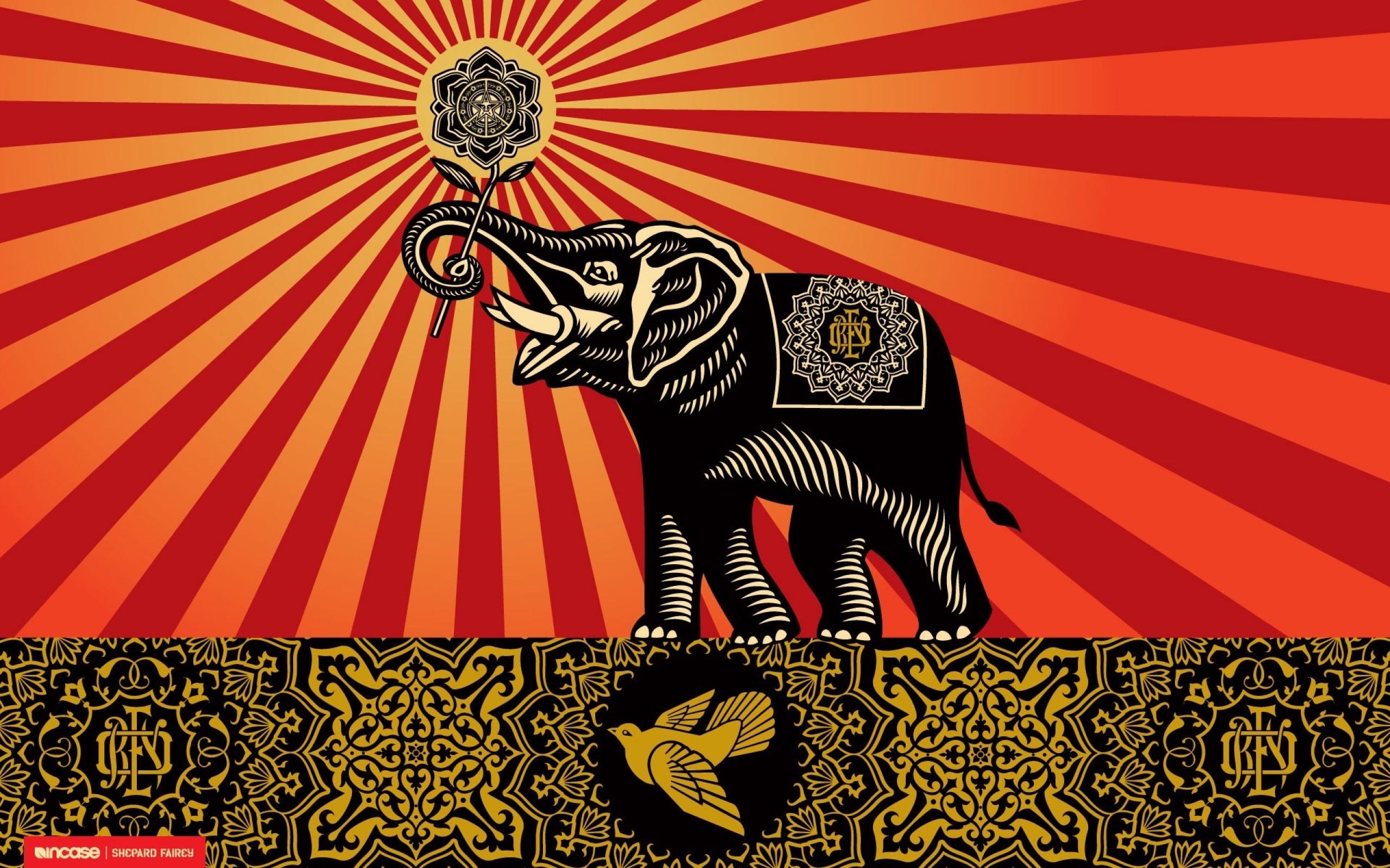 elephants shepard fairey incase 1920x1200 wallpaper Art HD Wallpaper 2560x1600