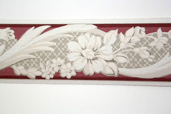 Wallpaper Border   TRIMZ   Burgundy Gray and White Floral Design 570x380