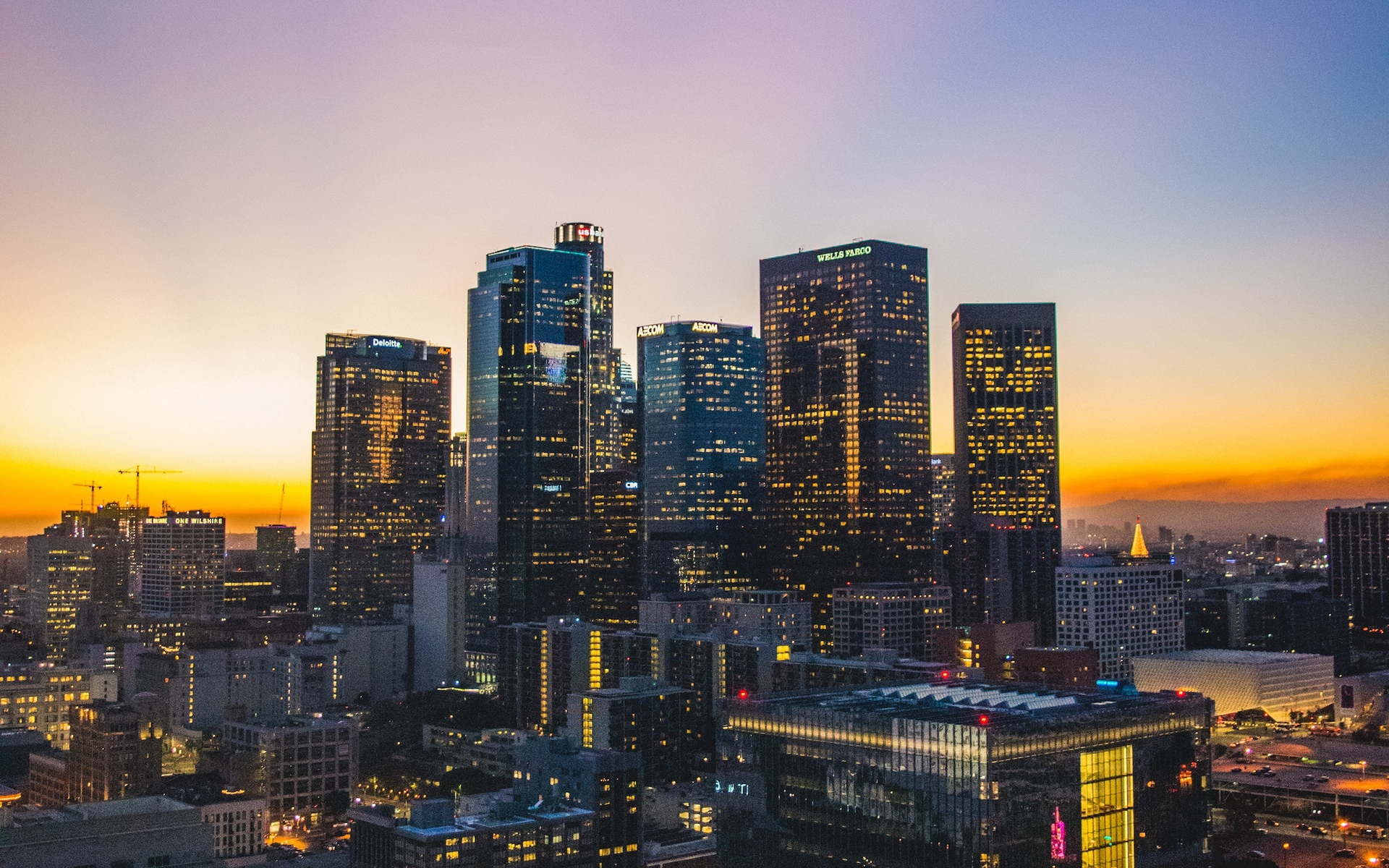 Download wallpaper 1920x1200 los angeles usa skyscrapers sunset 1920x1200