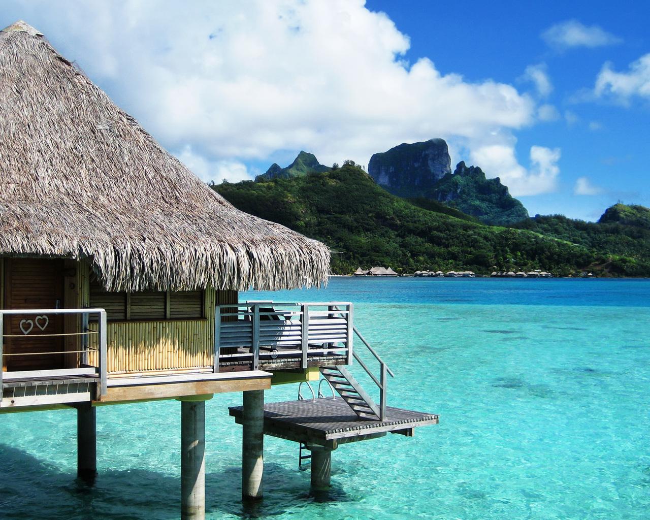 Bora Bora bungalow resort on the beach wallpaper   Beach Wallpapers 1280x1024