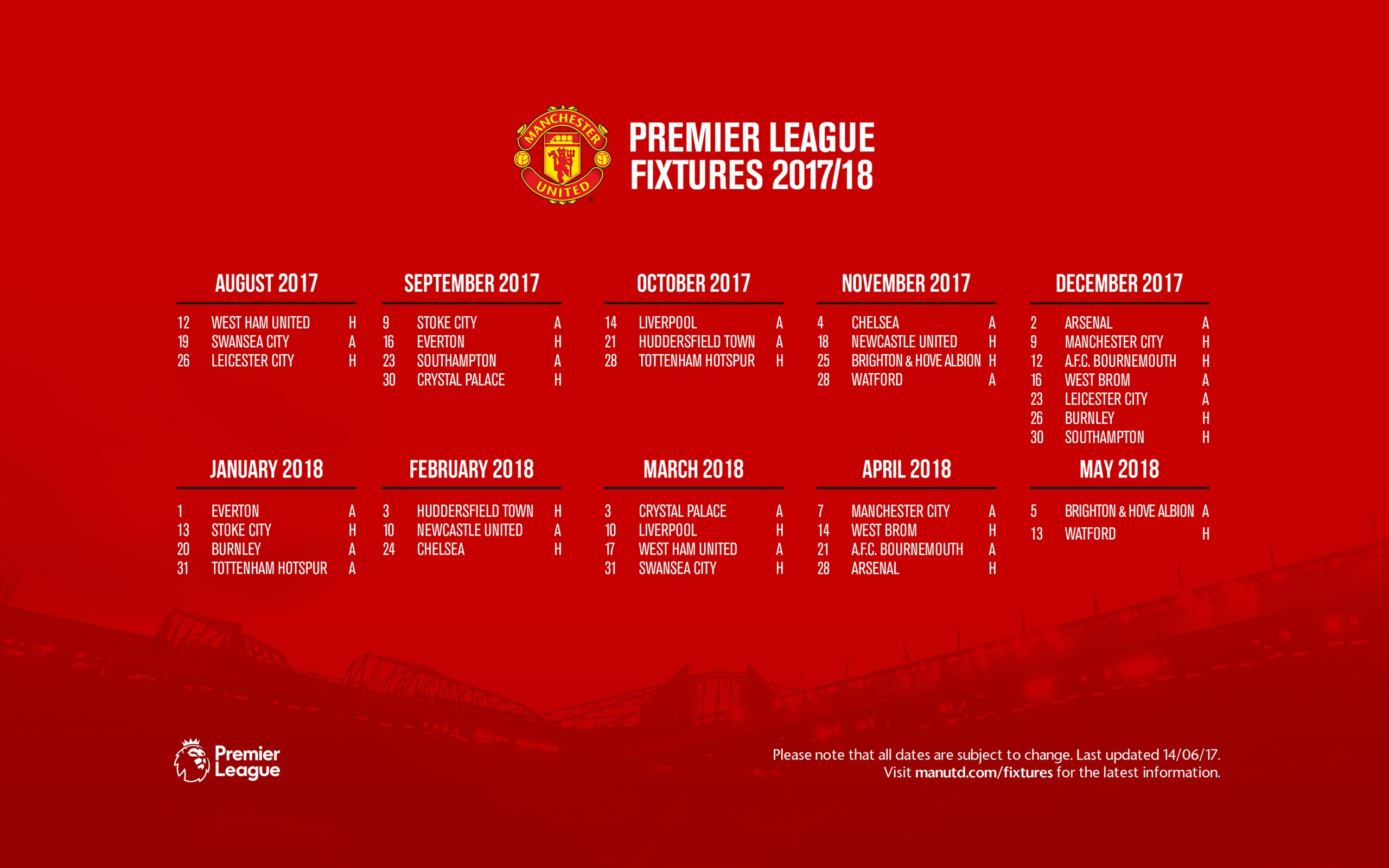 Manutds fixture for the 2017 18 season 2560x1600