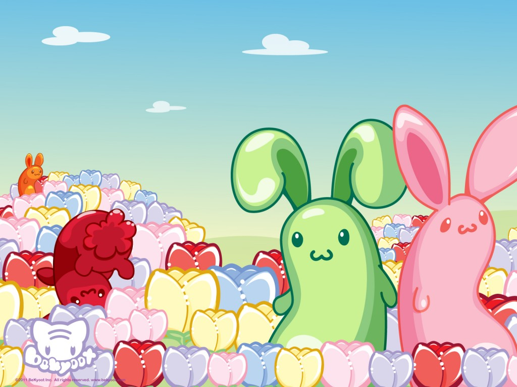 kawaii wallpaper by Bekyoot Cute bunnys in a tulip field Get it 1024x768