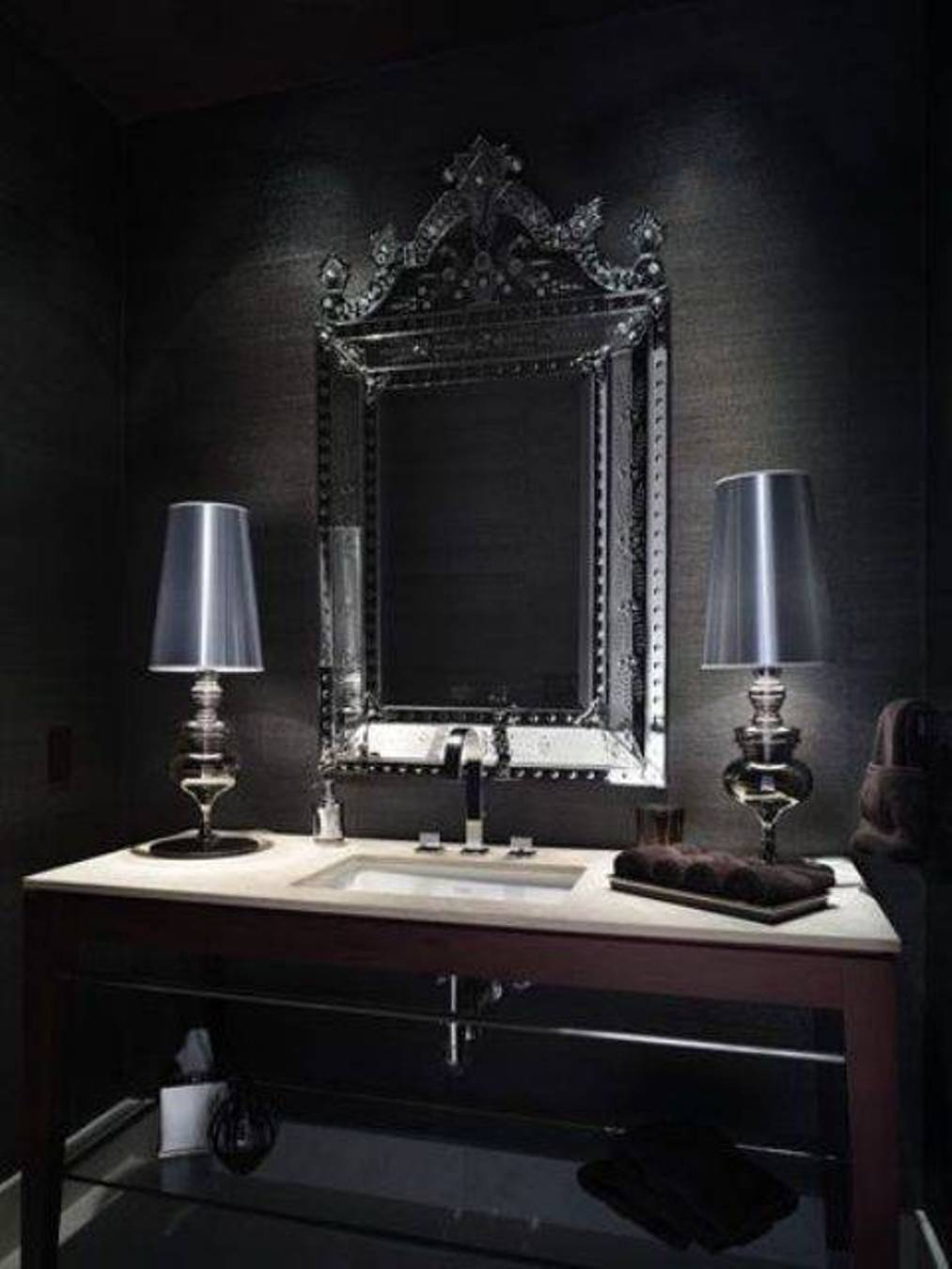 Free Download Gothic Bathroom With Black Grasscloth