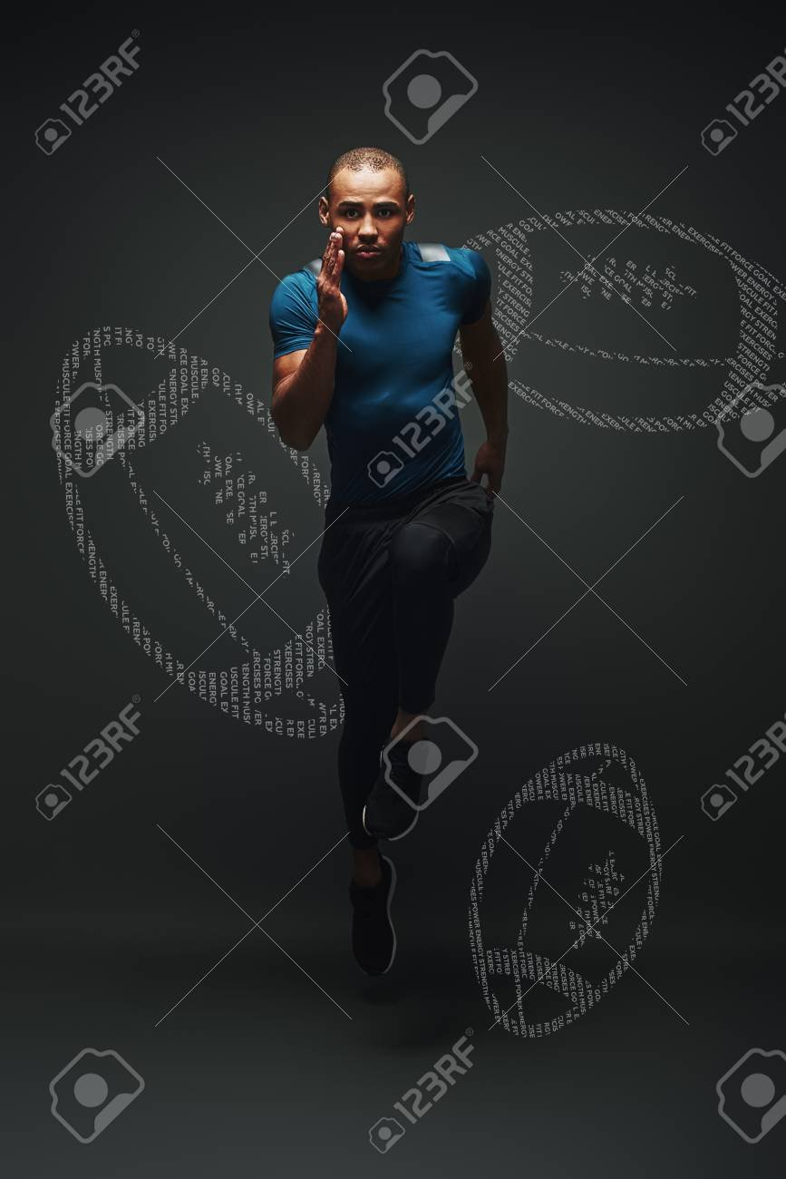 Handsome Sportsman Is Ready To Run Jumping Over Dark Background 867x1300