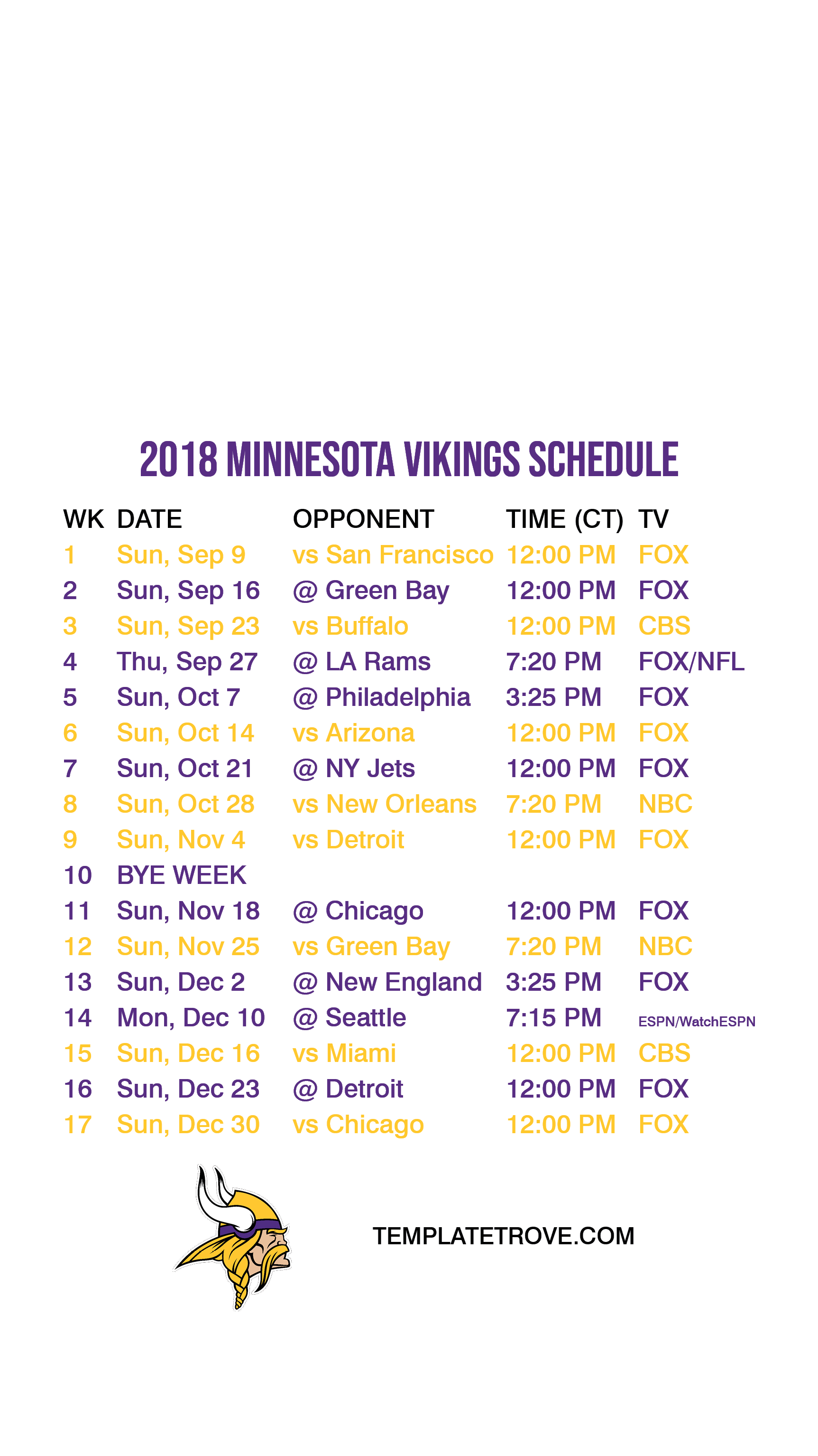 2018 2019 Minnesota Vikings Lock Screen Schedule for iPhone 6 7 8 Plus 1725x3067