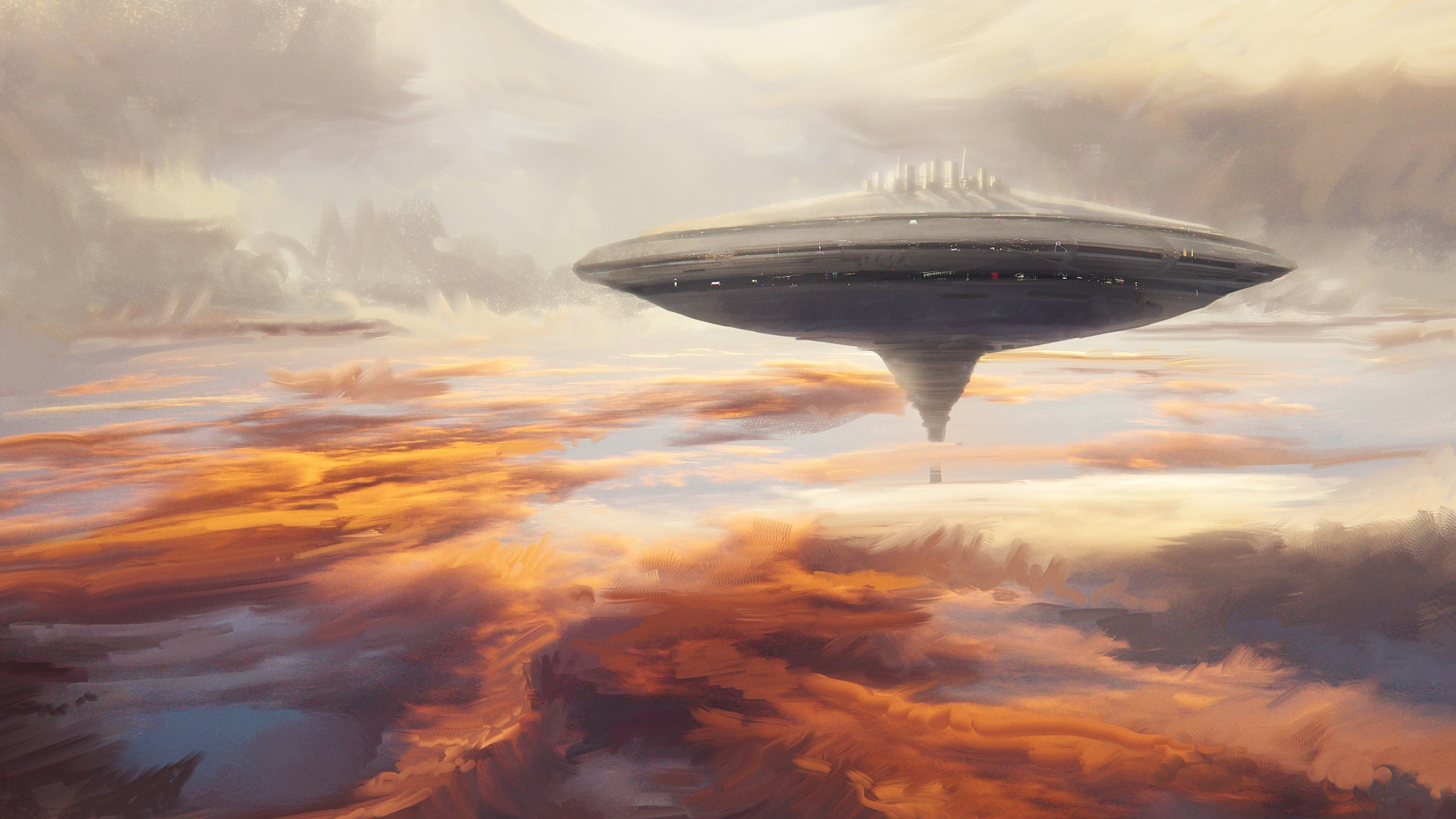 Floating gray spaceship digital wallpaper Star Wars cloud city 2560x1440