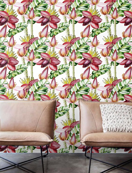Banana flower leaves Wallpaper Removable Wallpaper Self adhesive 564x737