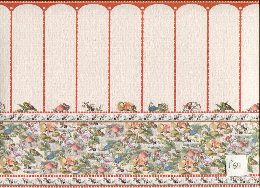 World Model 34483W Wallpaper w Border Dollhouse Miniature 1pc 1 12 1000x726