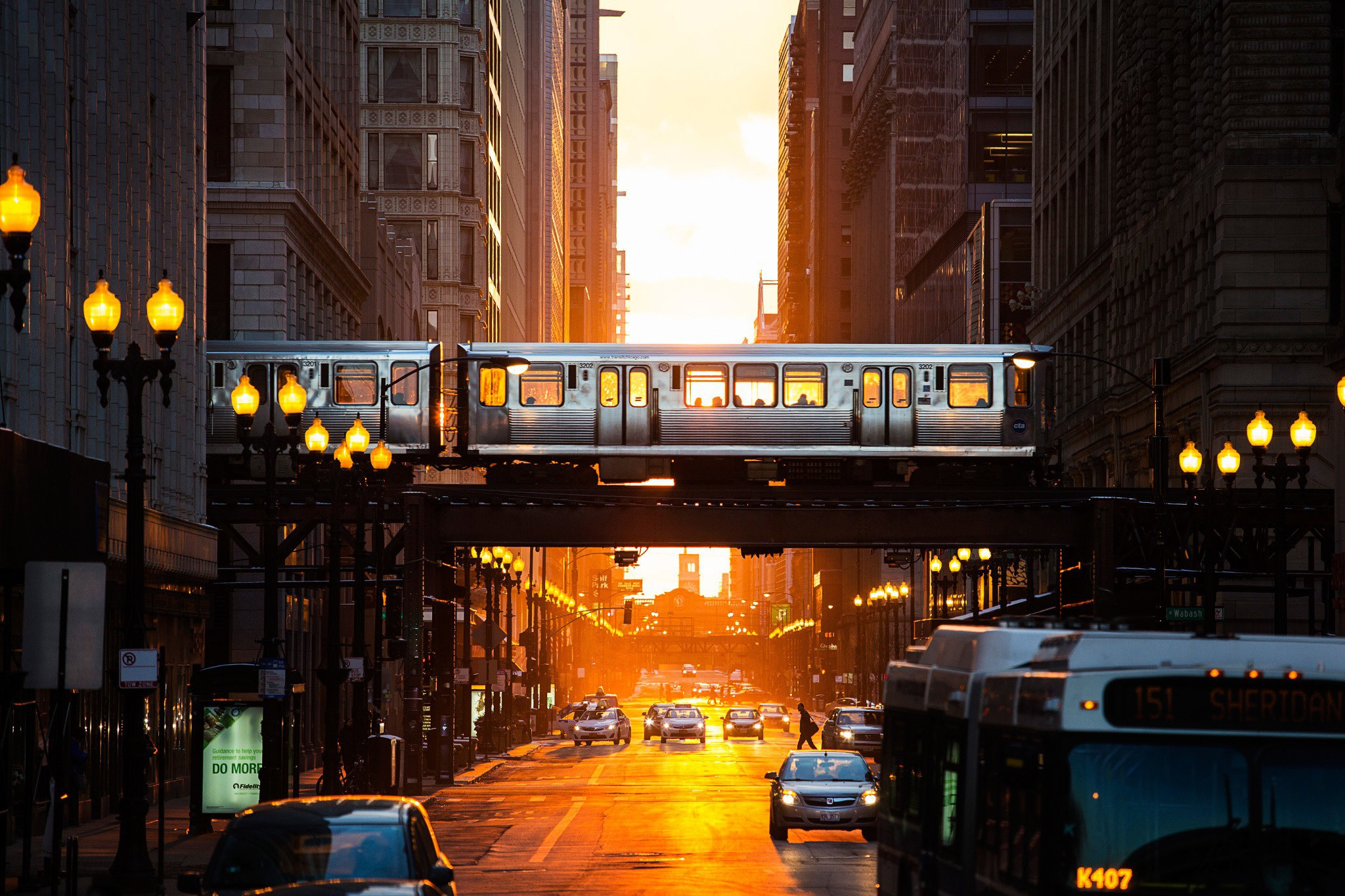 train crosses the street in Chicago wallpapers and images   wallpapers 2048x1365