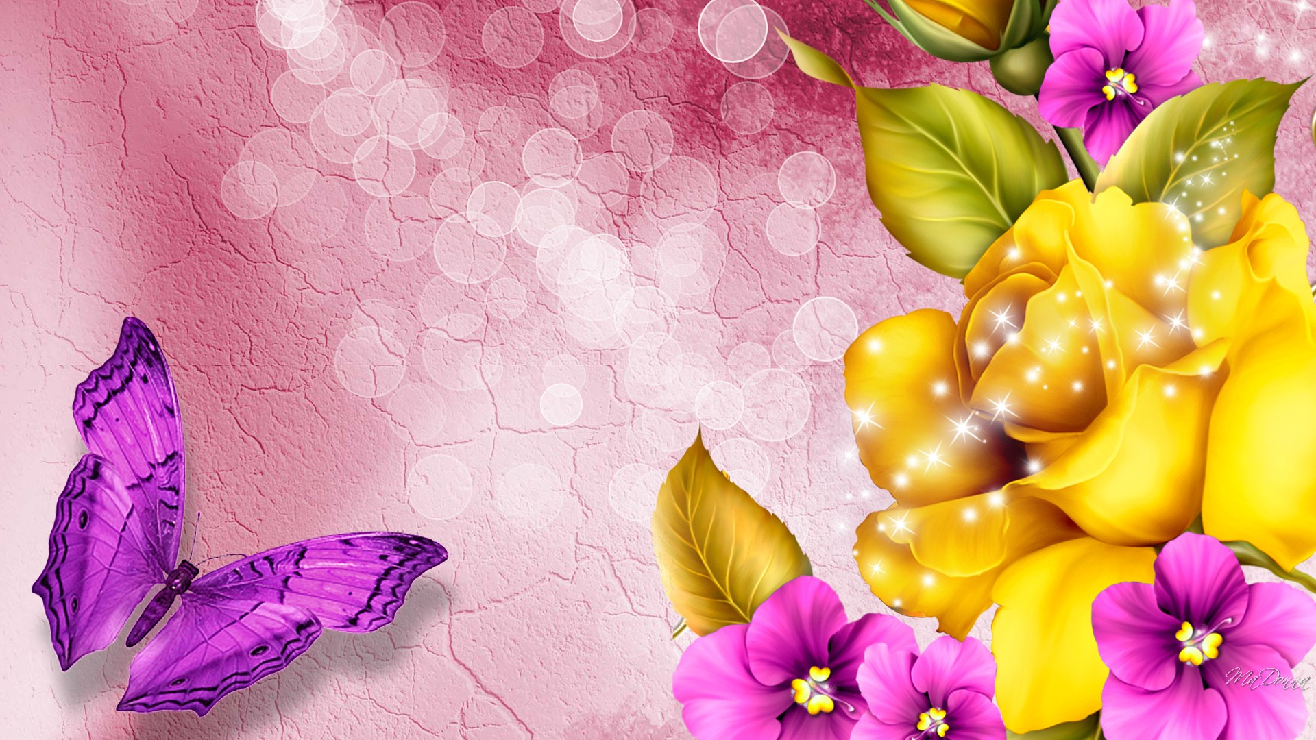 beautiful wallpaper flowers butterfly colorful 1920x1080 1920x1080