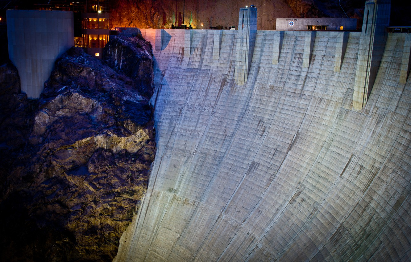 Wallpaper night rock dam desert Las Vegas las vegas nevada 1332x850