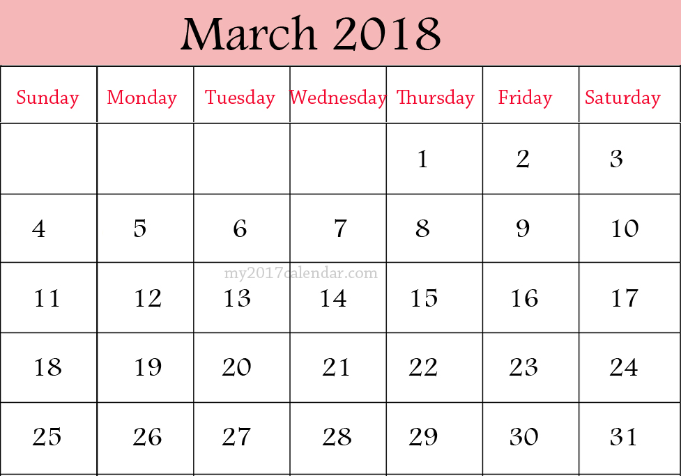 March 2018 Personalised Calendar Images Download 977x683