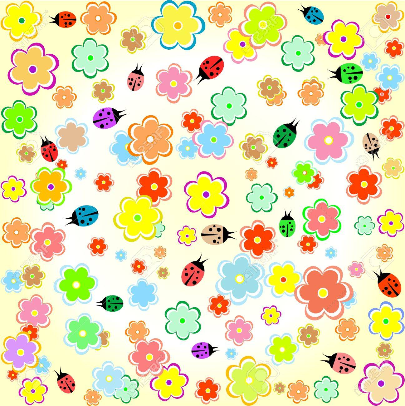 Flowers And Ladybugs Yellow Seamless Background Wallpaper Royalty 1298x1300